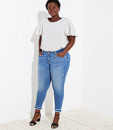 LOFT Plus Double Fray Cuff Skinny Jeans in Bright Mid Indigo Wash