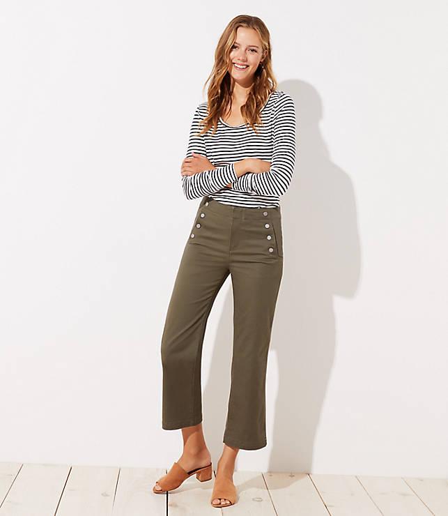 Petite Sailor Wide Leg Crop Pants