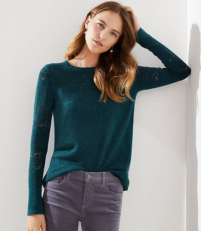Petite Lacy Pointelle Sweater