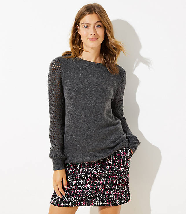 Petite Open Stitched Sleeve Sweater
