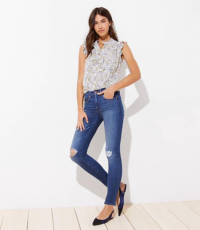 Petite Modern Distressed High Waist Skinny Jeans in Mid Indigo Wash