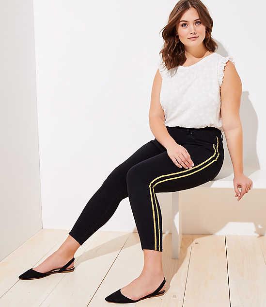 78f94ece447 LOFT Plus Shimmer Side Stripe Skinny Jeans in Black