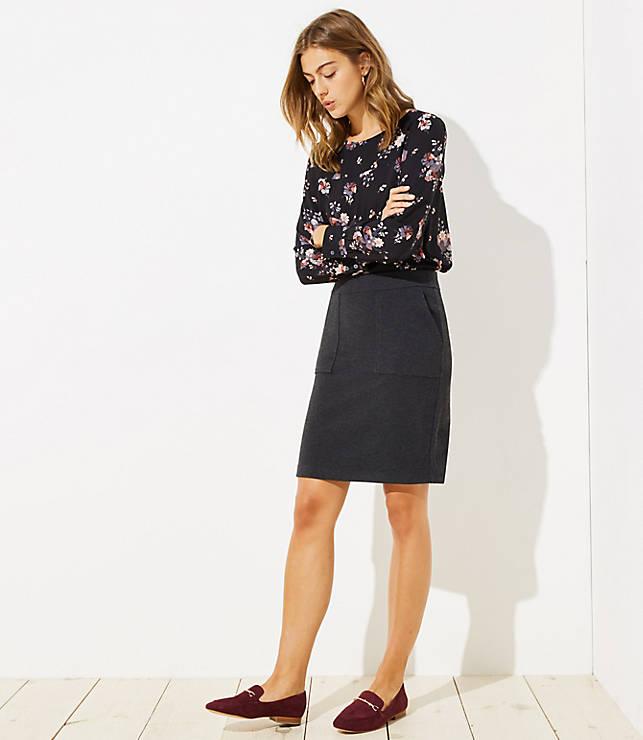Petite Knit Pocket Pull On Pencil Skirt