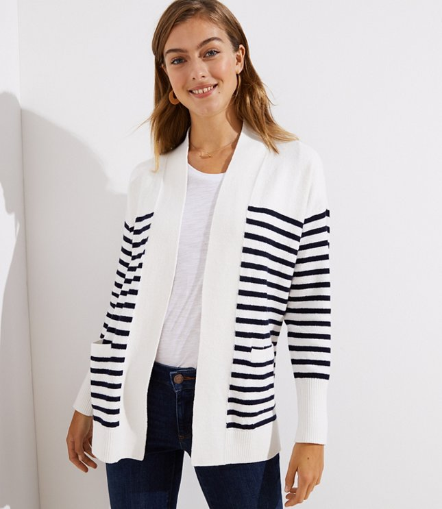 Striped Open Pocket Cardigan