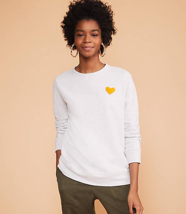 Lou & Grey Conscious Cotton Heart Patch Sweatshirt by Loft