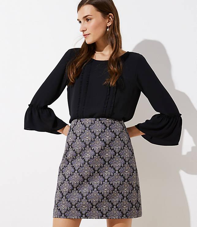 Petite Medallion Jacquard Shift Skirt