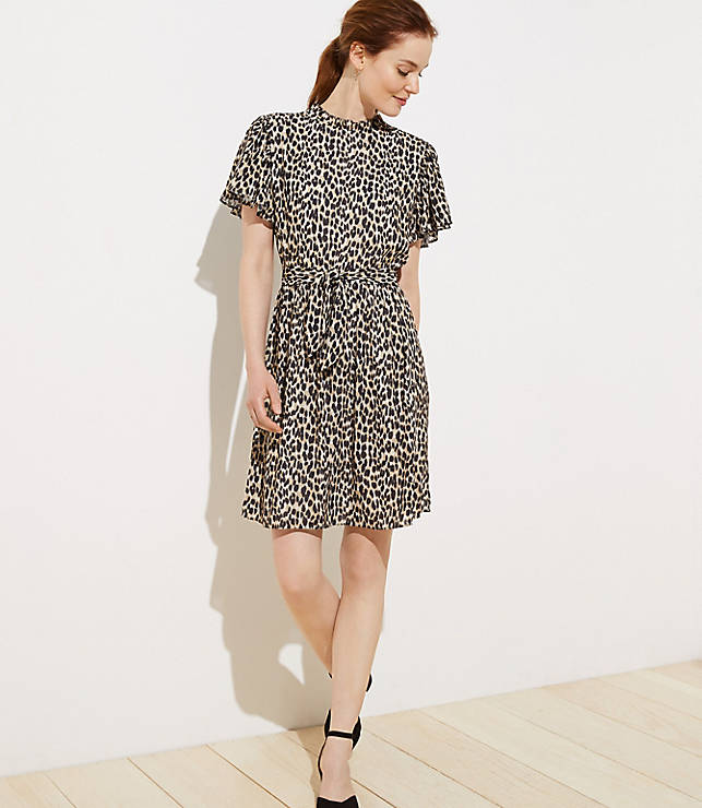 bc0ed9e6f890 Leopard Print Tie Waist Flutter Dress   LOFT