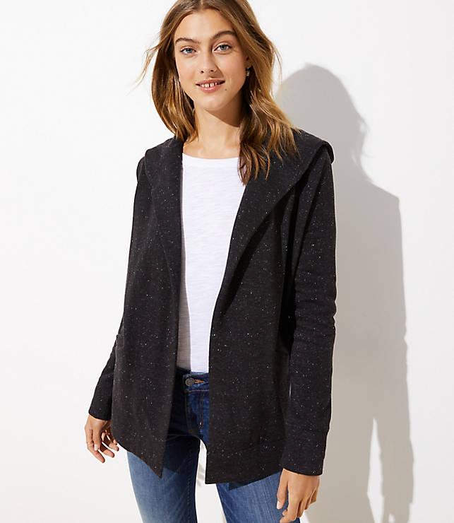 Petite Speckled Open Hoodie Jacket