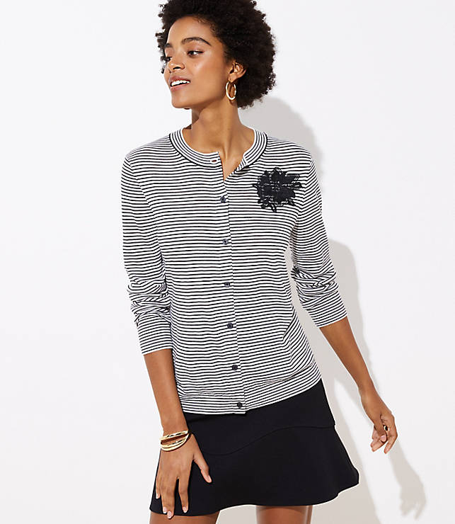 Petite Applique Striped Signature Cardigan