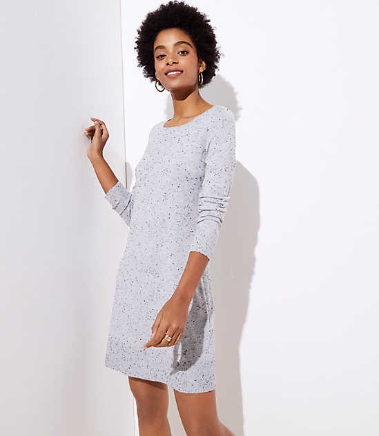 1337883238e Petite Flecked Cutout Back Sweater Dress