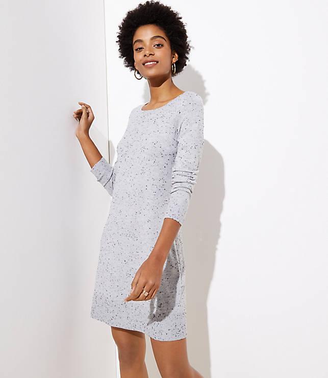 Petite Flecked Cutout Back Sweater Dress