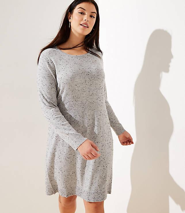 01b5e3e8853 LOFT Plus Flecked Cutout Back Sweater Dress