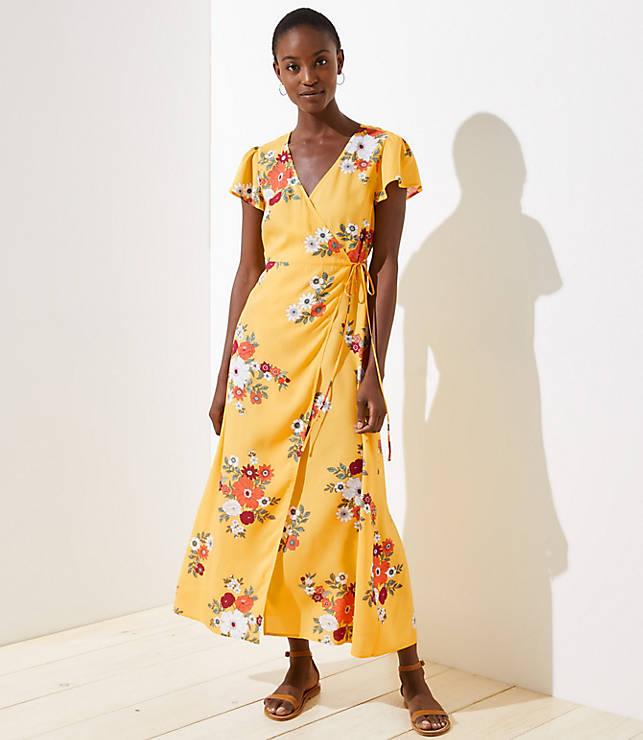 01cf66236c LOFT Beach Floral Wrap Dress