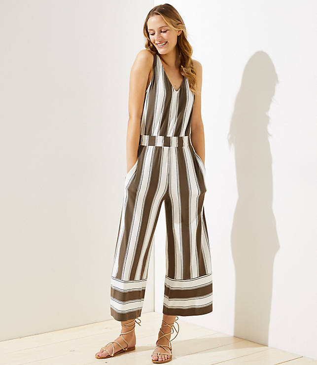 ecbc972511d7 LOFT Beach Striped Wide Leg Crop Jumpsuit