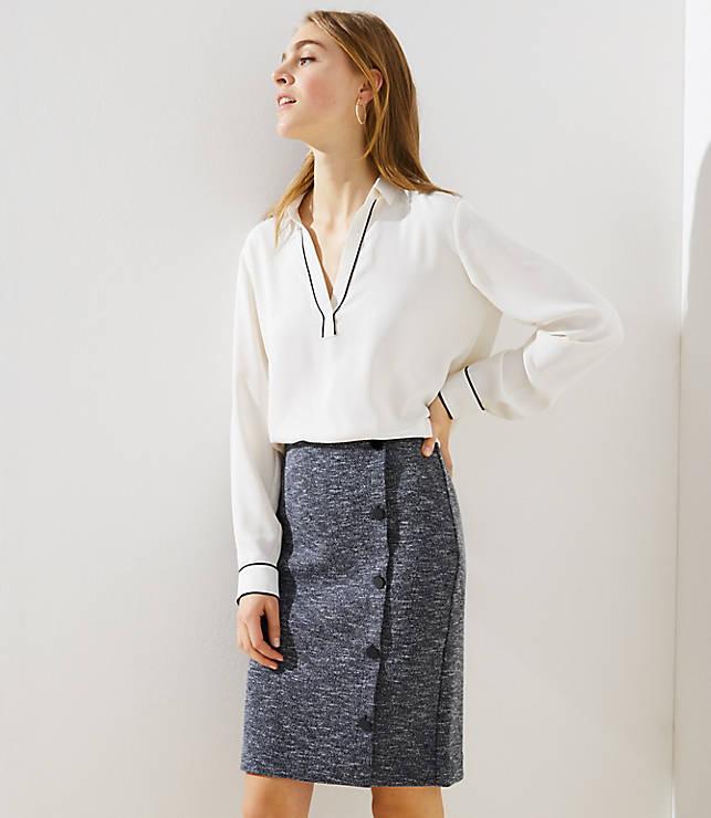 3d84b93b38b679 Side Button Pull On Pencil Skirt | LOFT