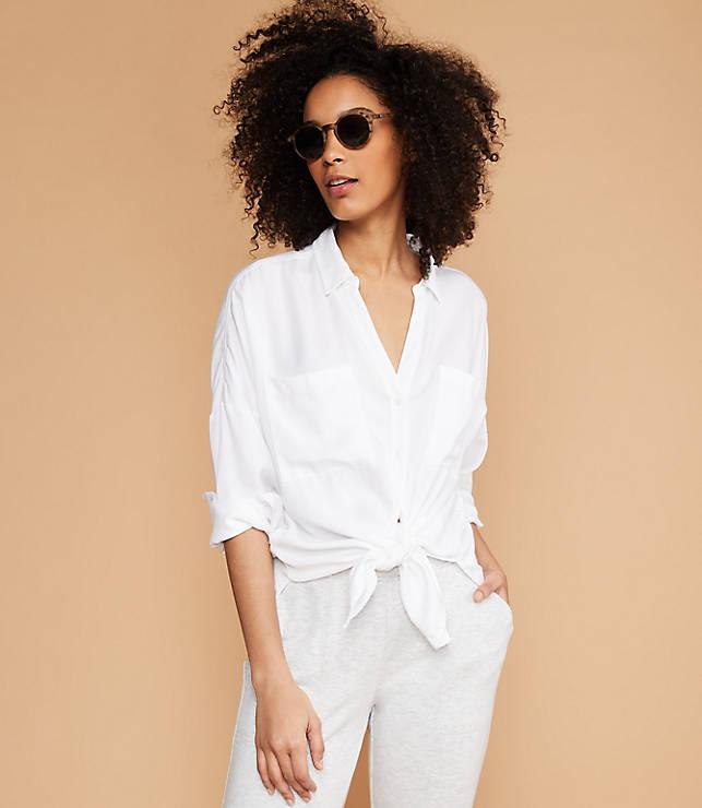 Lou   Grey Tie Front Shirt  d4b6628b2