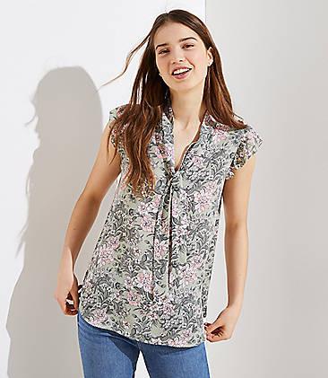 ac005b2e7d3 Floral Flutter Tie Neck Top