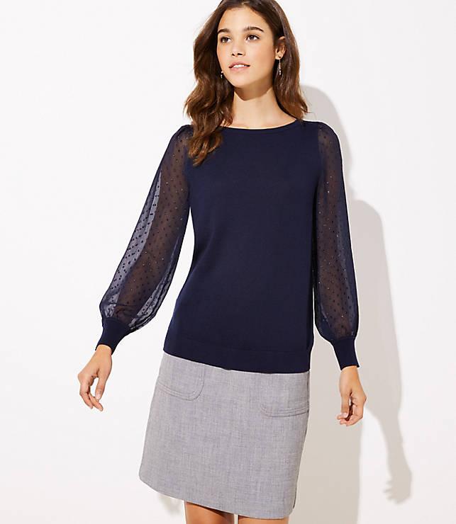 Petite Swiss Dot Sleeve Sweater