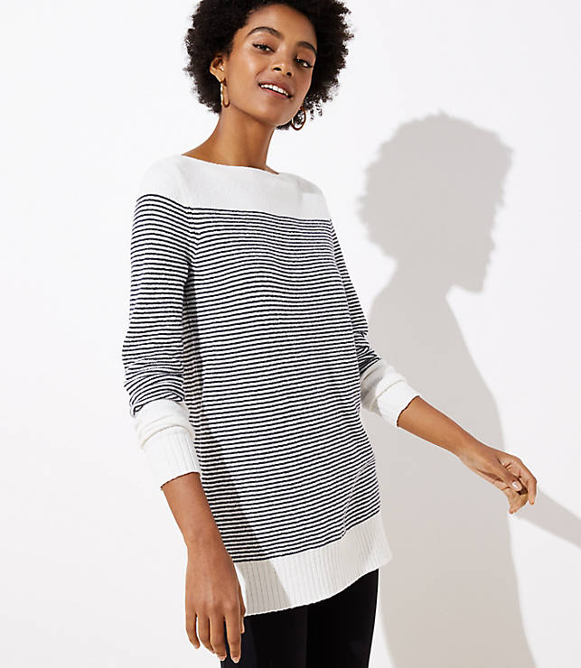 Petite Striped Speckled Boatneck Tunic Sweater