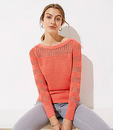 Striped Mixed Knit Sweater 6e84ed61f