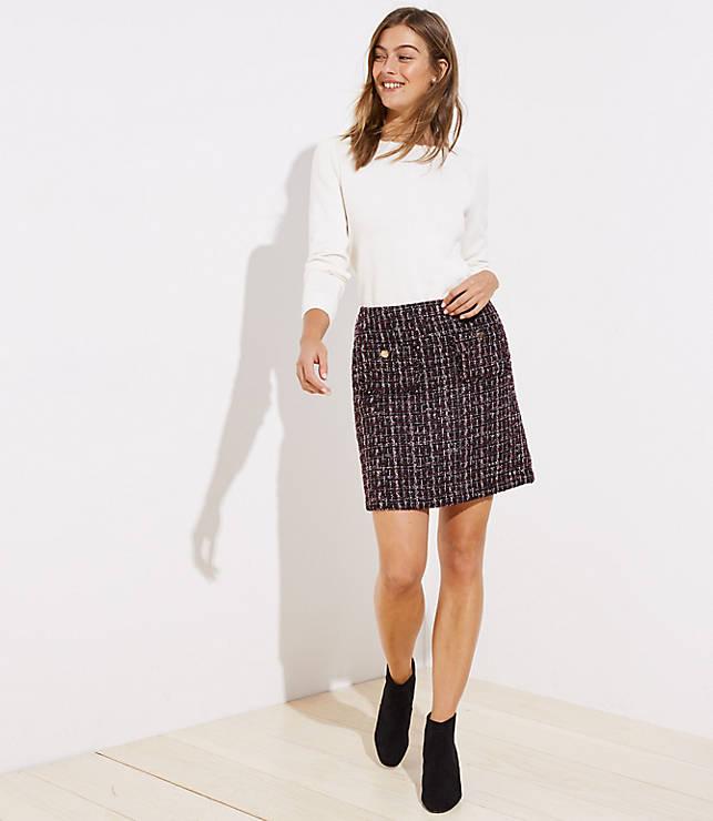 Petite Boucle Pocket Shift Skirt