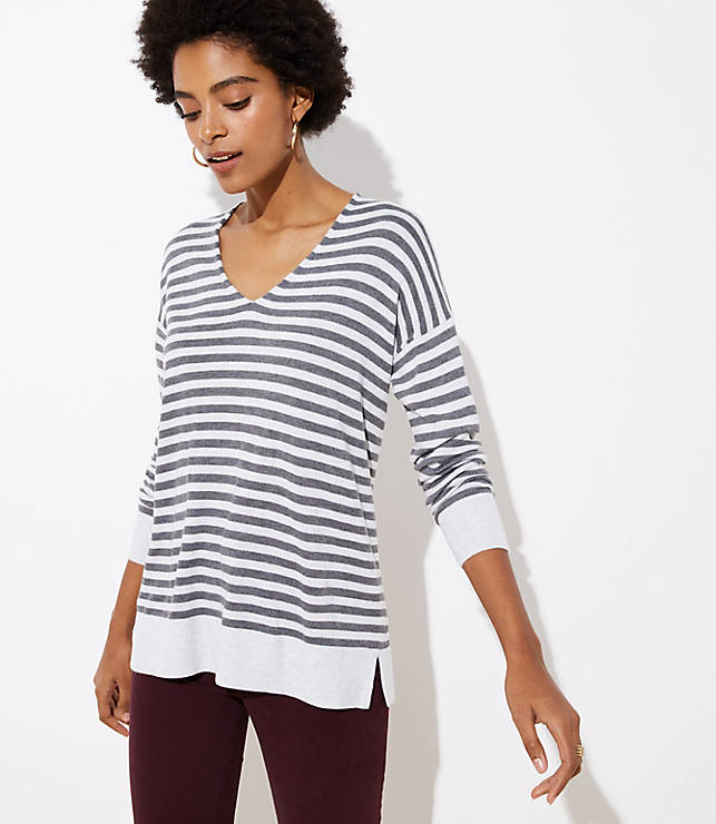 Petite Striped V-Neck Sweater