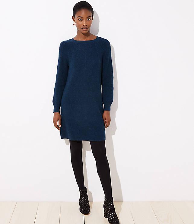 Petite Ribbed Tie Back Sweater Dress