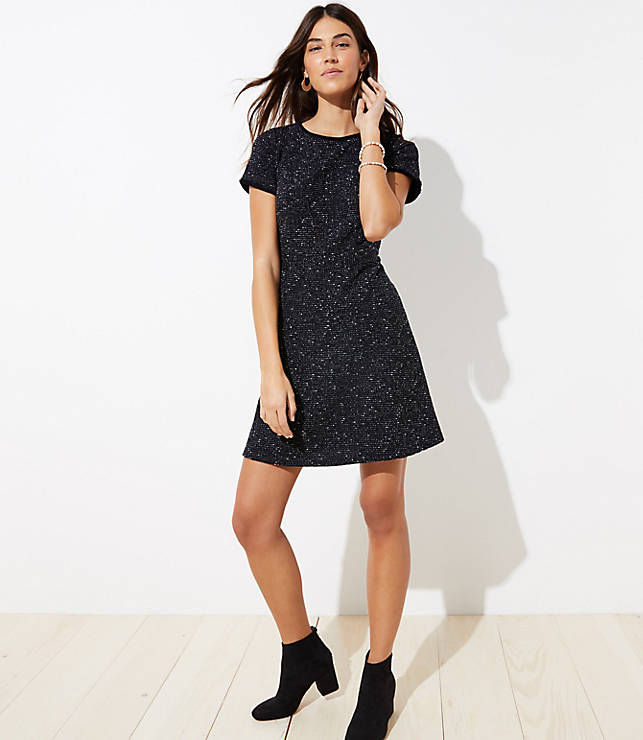 Petite Tweed Flare Dress