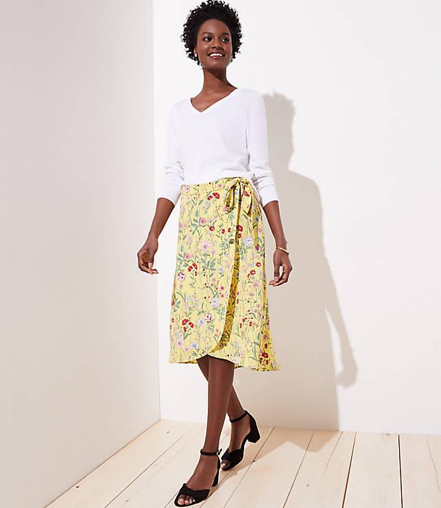 64f0312c32 Floral Wrap Skirt | LOFT