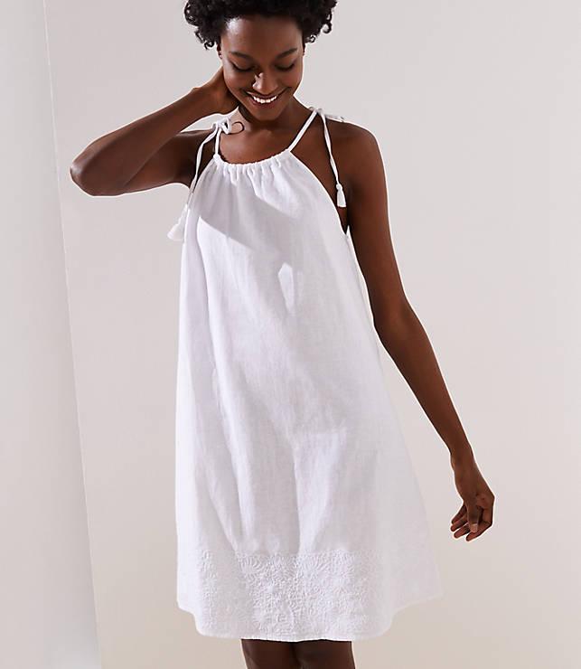 656dd5bfc368 LOFT Beach Embroidered Halter Dress