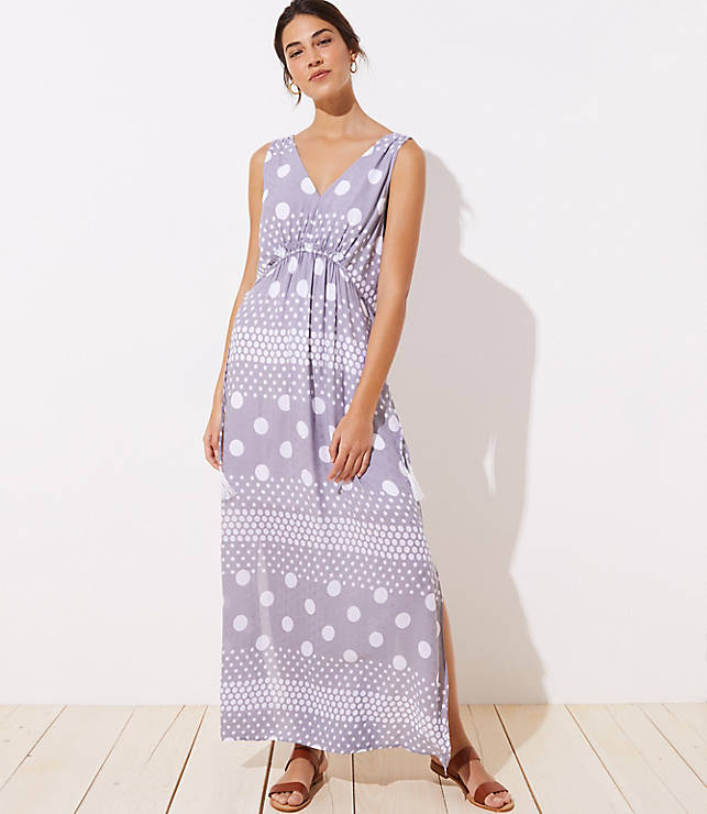 dca442f652 LOFT Beach Mixed Dot Drawstring Waist Maxi Dress | LOFT