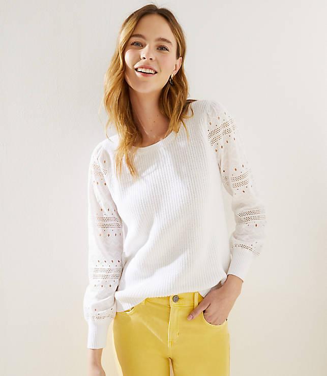 Eyelet Sleeve Mixed Media Sweater by Loft