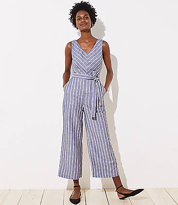 c91e8368b1b25 Striped Tie Waist Jumpsuit