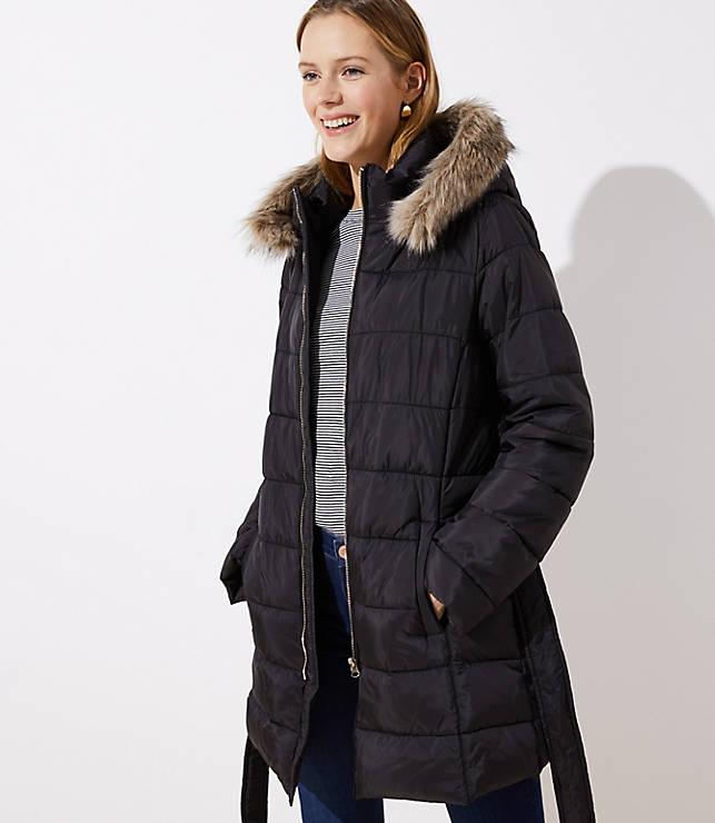 Petite Faux Fur Trim Belted Puffer Coat