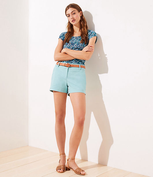 Because sunny style should always be easy, our Riviera shorts make every day a getaway. Front zip with hook-and-bar closure. Front slash pockets. Back welt pockets. Loft Riviera Shorts with 4 Inch Inseam