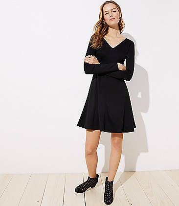LOFT Doubleface Flare Dress