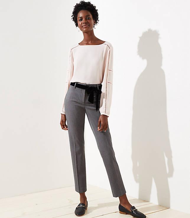 Petite Slim Velvet Tie Waist Pencil Pants in Marisa Fit