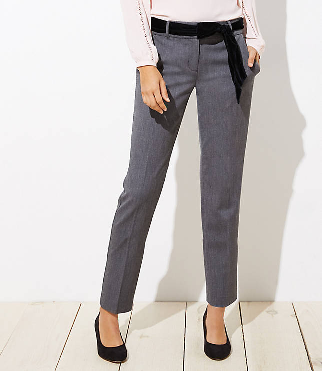 Slim Velvet Tie Waist Pencil Pants In Julie Fit by Loft