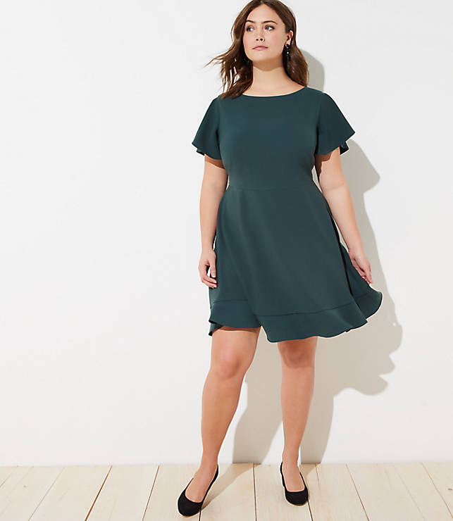 Loft Plus Flutter Flounce Dress by Loft