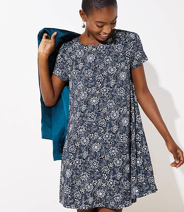 1614355e82f8 Floral Short Sleeve Swing Dress | LOFT