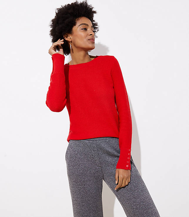 Petite Textured Button Cuff Sweater