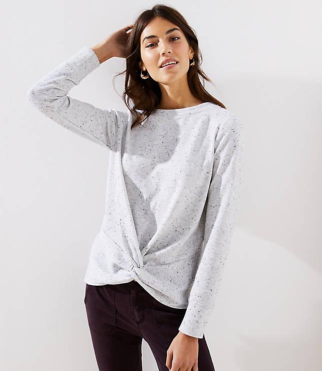 Petite Speckled Twist Sweatshirt