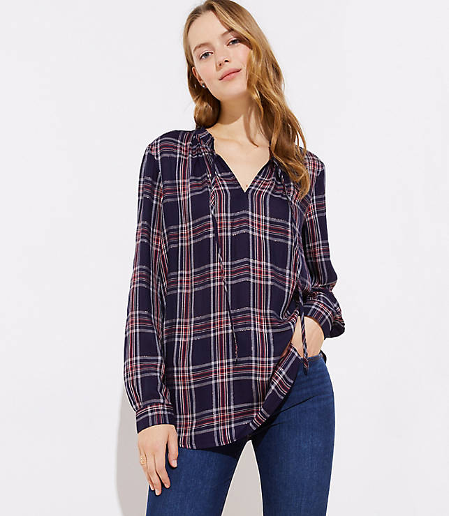 1a2f515ad5f25a Shimmer Plaid Ruffle Tie Neck Blouse