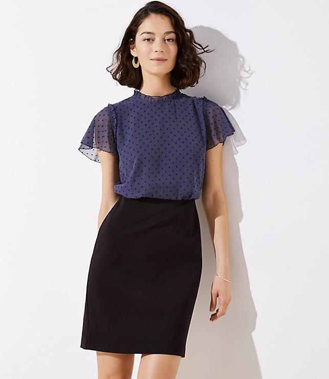 Petite Swiss Dot Skirt Dress