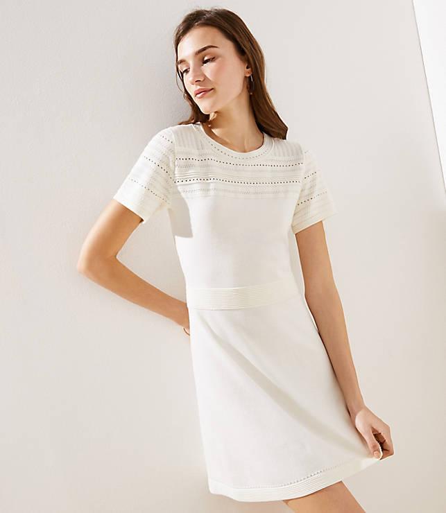 Textured Yoke Flare Sweater Dress by Loft