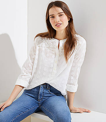 962e9f236e Textured Pattern Henley Blouse