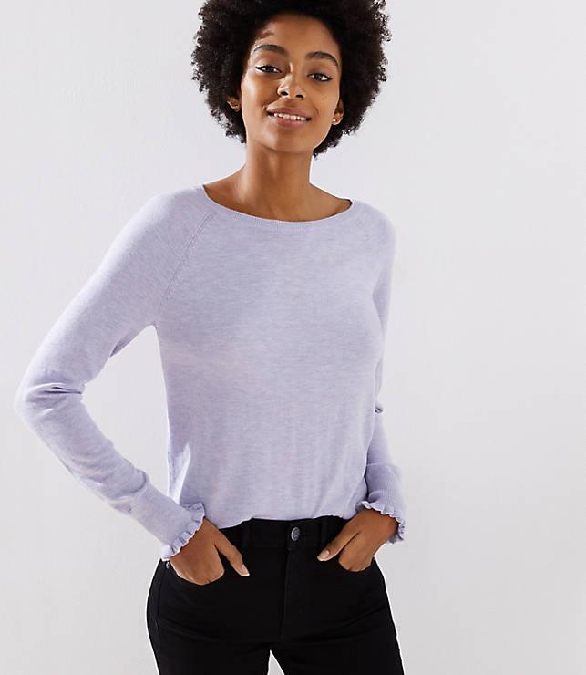 Petite Ruffle Cuff Raglan Sweater