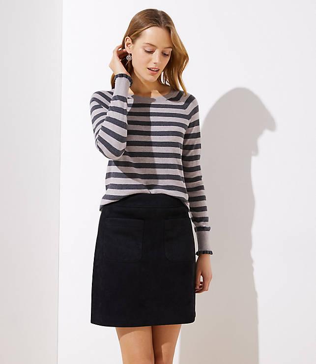 Petite Striped Ruffle Cuff Raglan Sweater