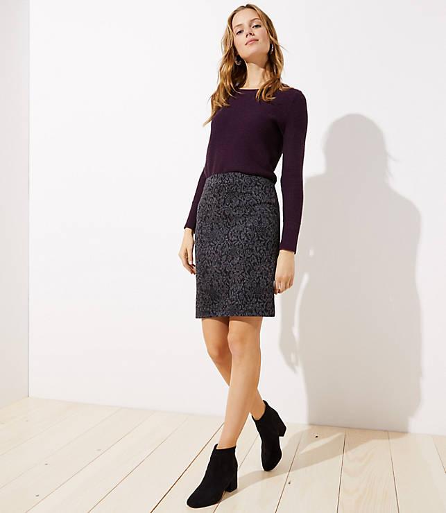 Petite Floral Jacquard Knit Pencil Skirt