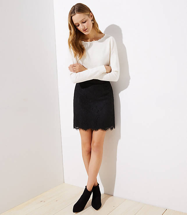 Petite Scalloped Lace Skirt